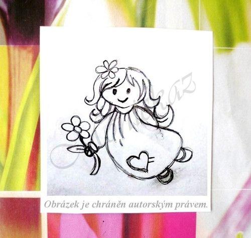 Holčička s květinkou... Omyvatelné razítko.