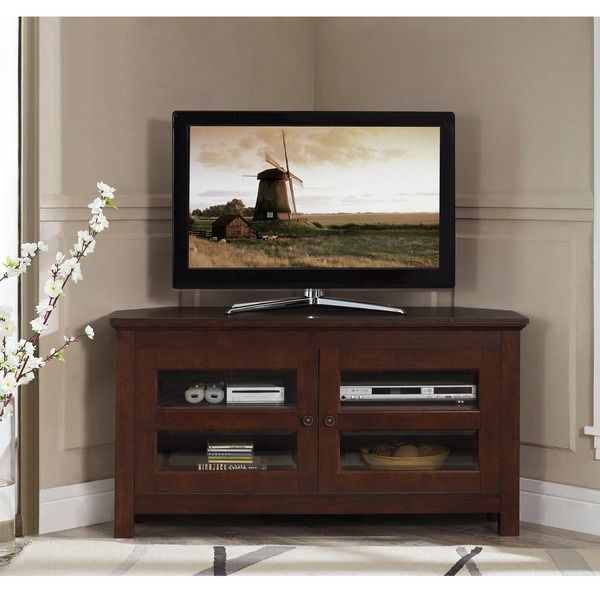 44 Inch Brown Wood Corner Tv Stand Overstock Shopping