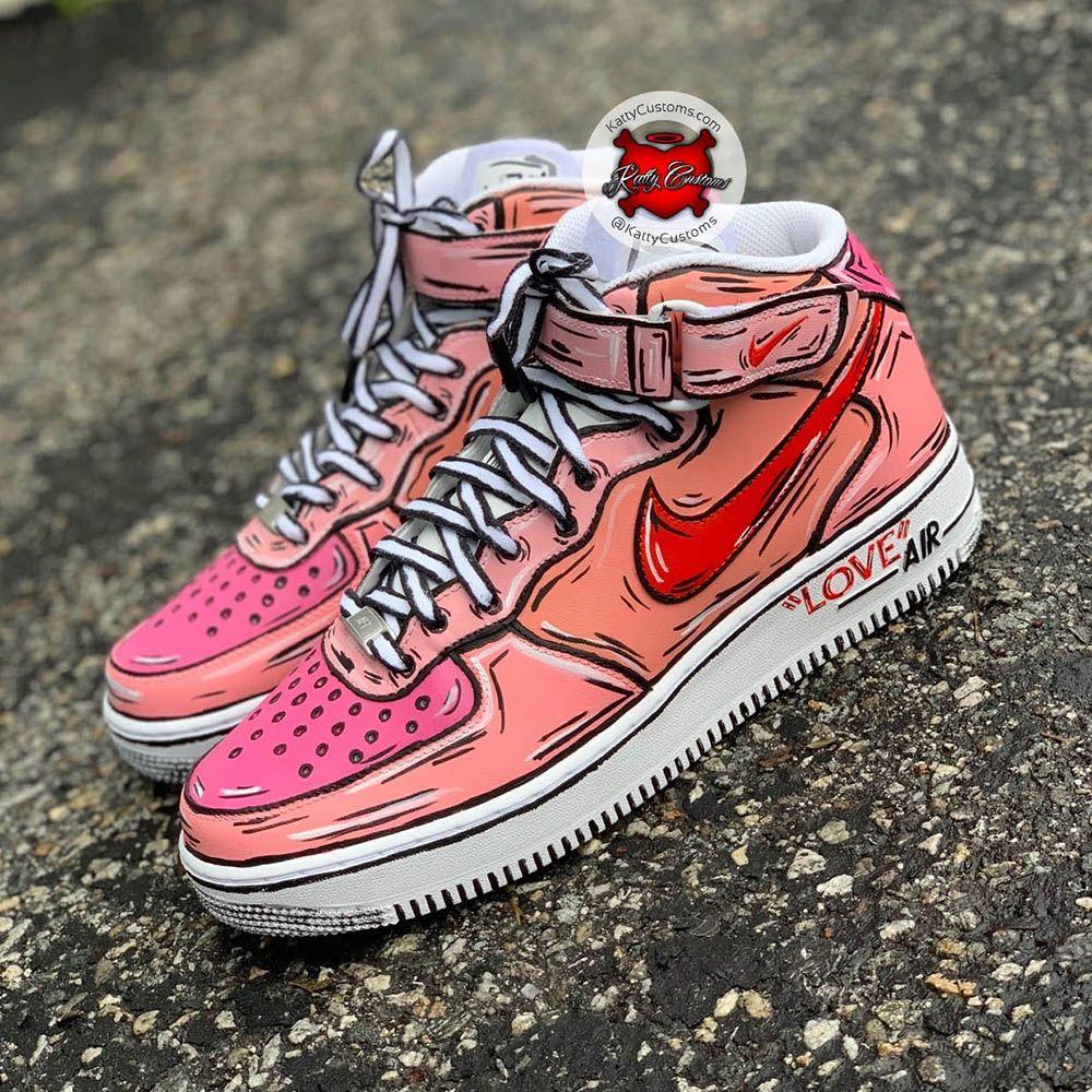 "Custom Nike Air Force One High – ""Love Is In The Air"" – Katty Customs"