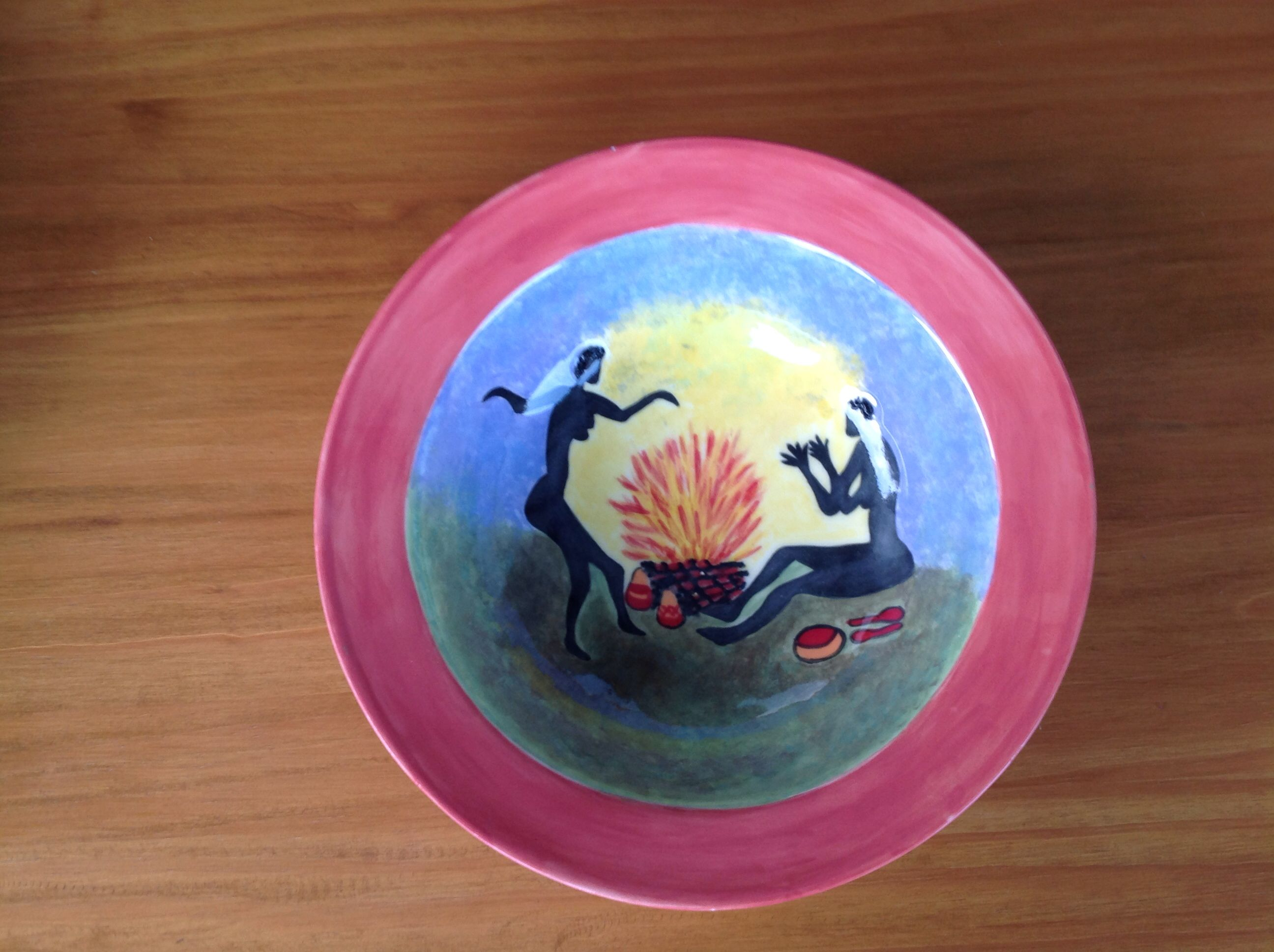 """Ceramic bowl. """"African evening by the fire"""". Hand painted"""