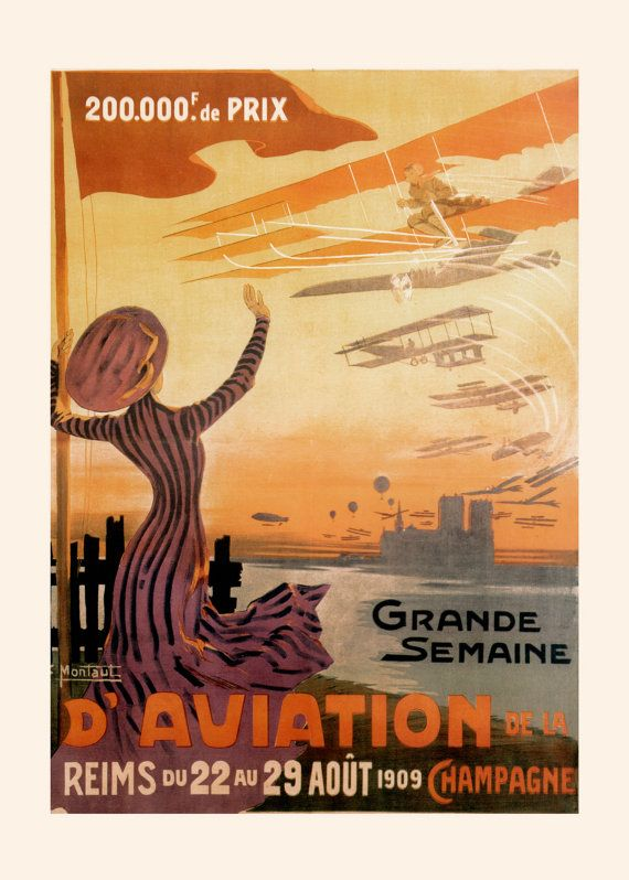 FRANCE TRAVEL POSTER Antique Airplane by EncorePrintSociety