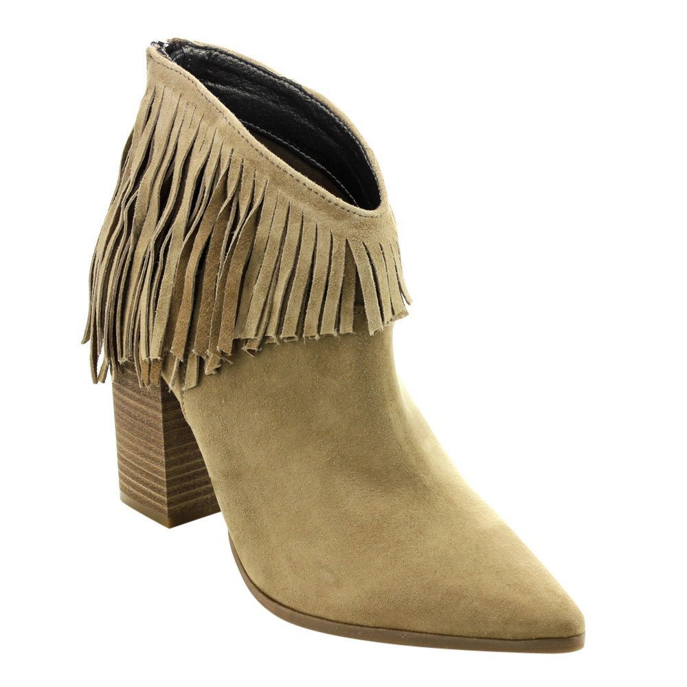 272134f21 Kenneth Cole Women's ED66 Almond/Black/Charcoal Faux Ankle Fringe High  Stacked Block Heel Booties