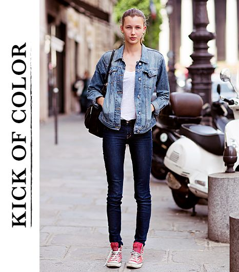 83fdcaa9609748  Who What Wear - Nora Svensson The model brightens up her denim-on-denim mix  with Converse Chuck Taylor High Top Sneakers ( 50) in Red.