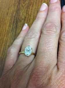 Oval Diamond Solitaire Engagement Ring 14 karat yellow gold tiffany style diamond  engagement ring is 1.61