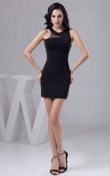 Black Tight Evermiss 1156 Chiffon Homecoming Dress On Sale