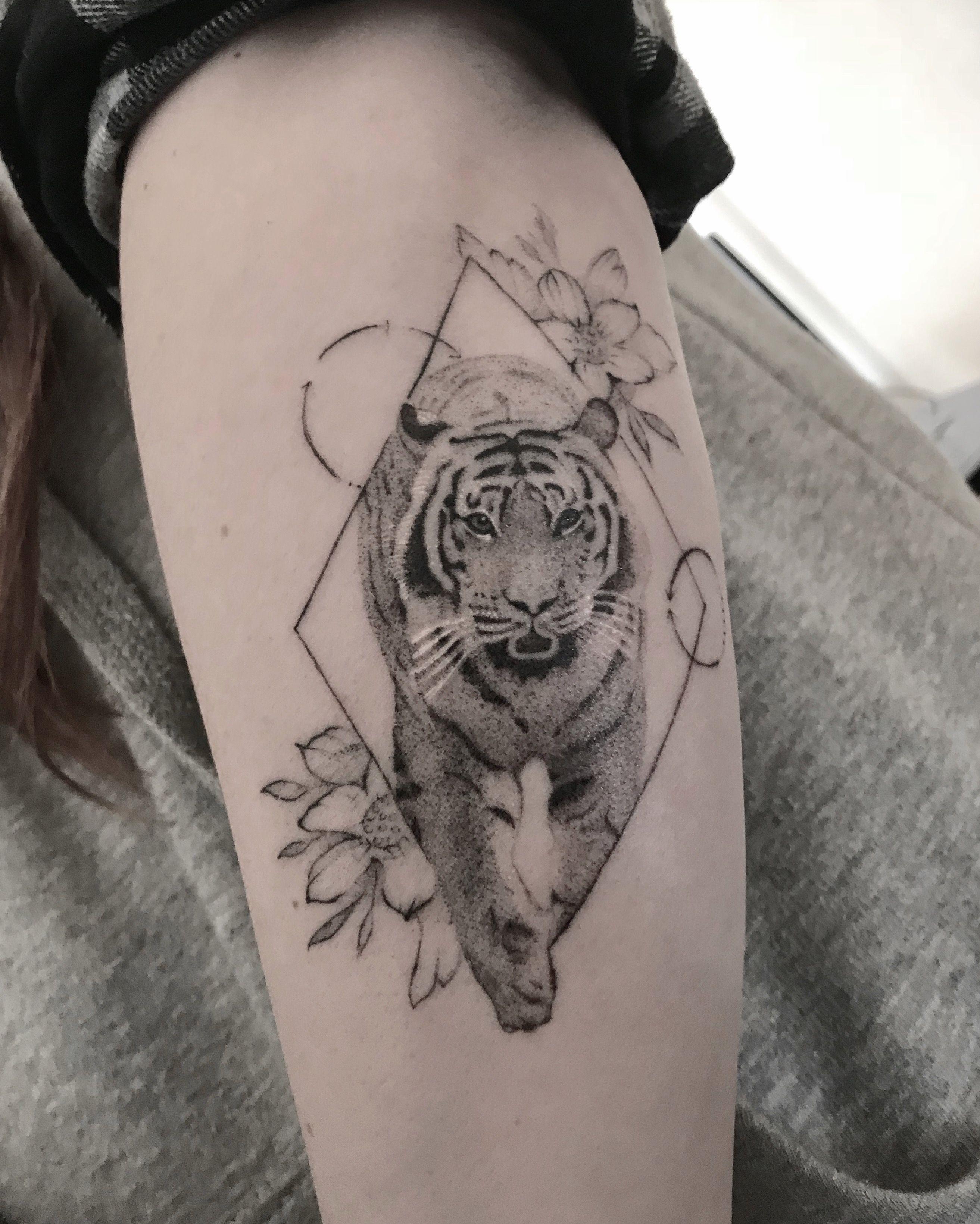 Tattooed By At Microman Geometric Tiger Flower Tattoo T