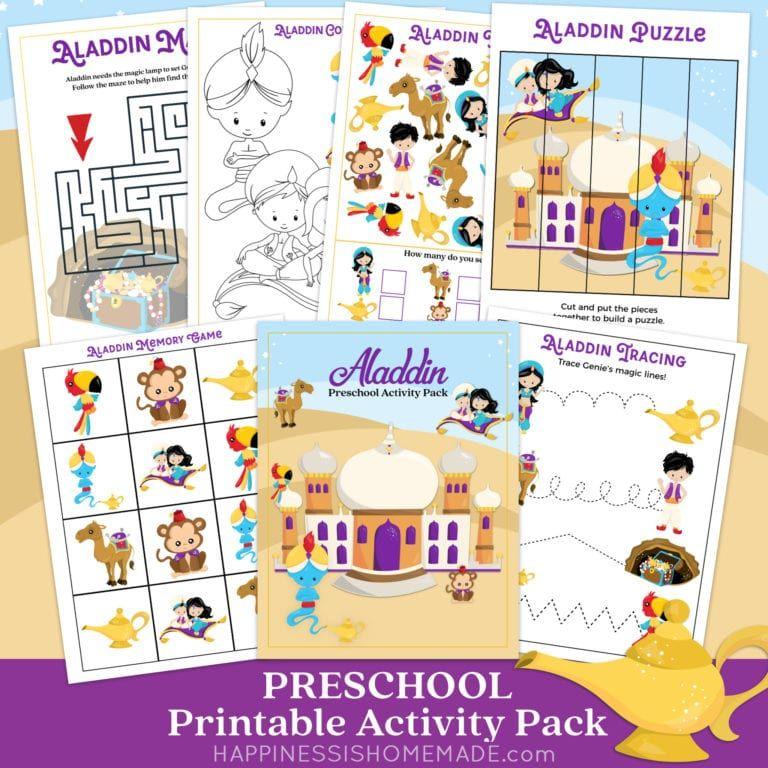 Aladdin Preschool Worksheets: Free Aladdin-themed ...