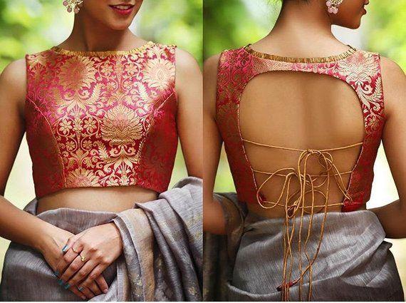 Indian Pakistani Designer Banarasi Brocade Blouse For Saree