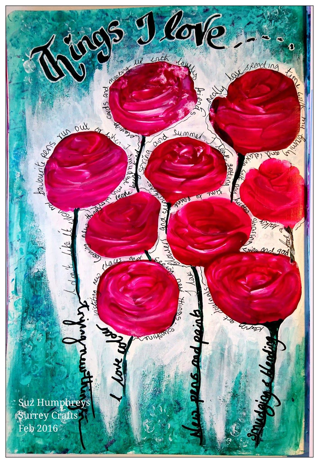 Surrey Crafts: Simple and super fast technique to create bold flower heads using DecoArt paints #decoartprojects #decoartmedia #mixedmedia