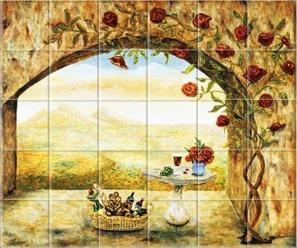 kitchen tile murals tile murals kitchen backsplash tile art rh pinterest com Metal Murals for Kitchen Backsplash Tuscan Kitchen Backsplash