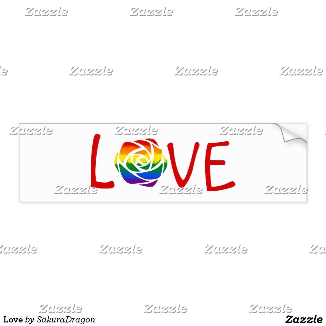 Love Bumper Sticker Love Rose Flower Rainbow Romance Stickers