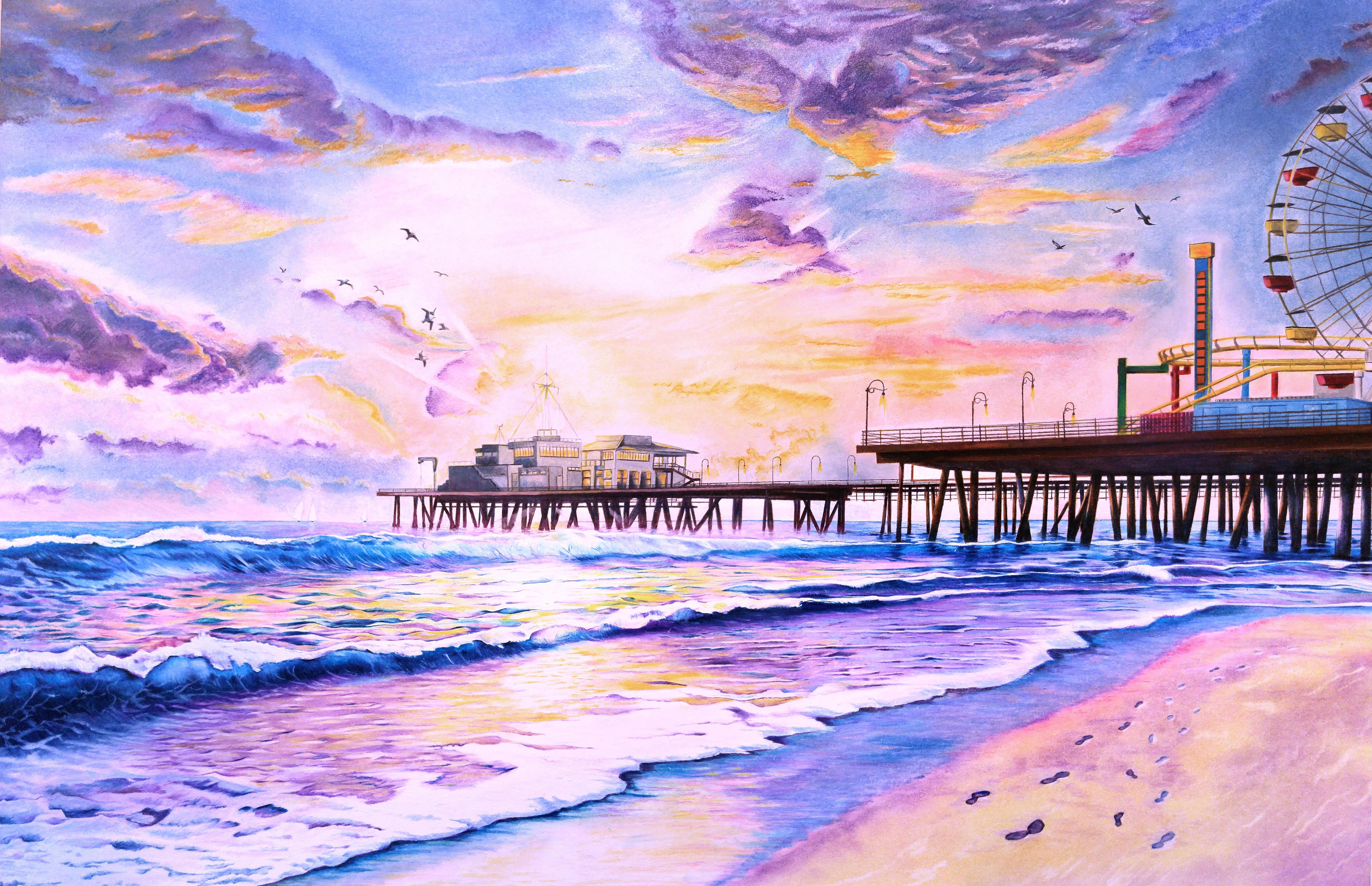 Sunset By The Santa Monica Pier Soft Pastel Amp Color Pencils