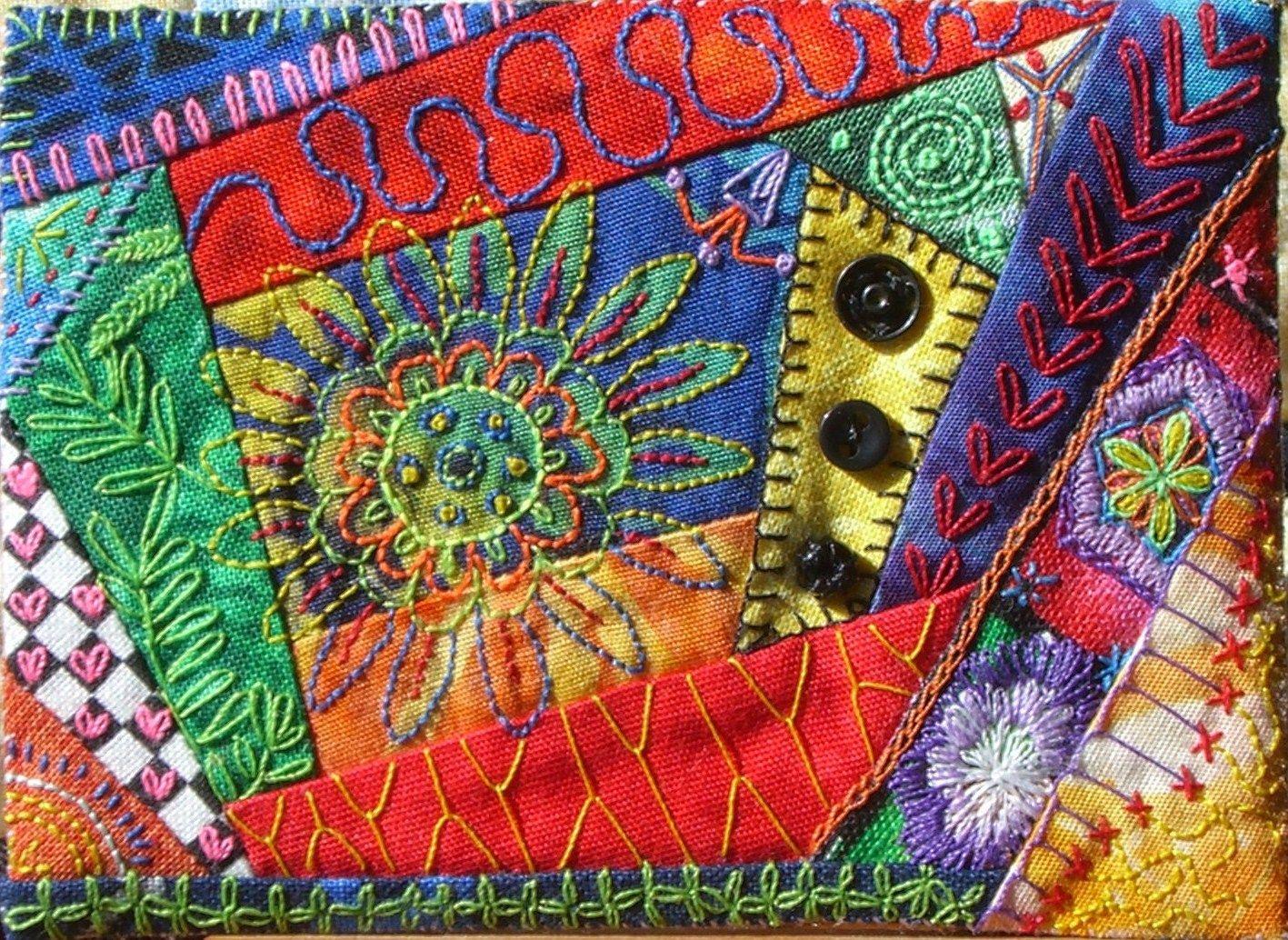 Aceo min quilt 90 fabric postcards crazy quilts artist