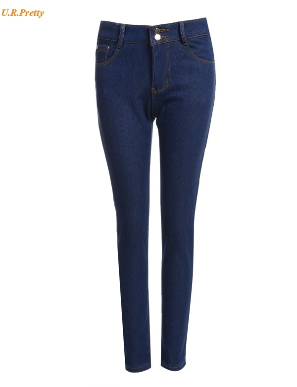 14.54$  Watch now - http://aliykf.shopchina.info/go.php?t=32791948526 - Women Winter Jeans Pants 2017 Fashion Warm High Waisted Solid Slim Skinny Trousers Fleece Lined Pencil Jeans Velvet Thick 14.54$ #bestbuy