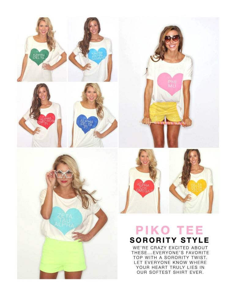 Riffraff copyrighted exclusive design. Our favorite Piko tops are now available with your Greek Letters on them! Perfect dressed up or down.
