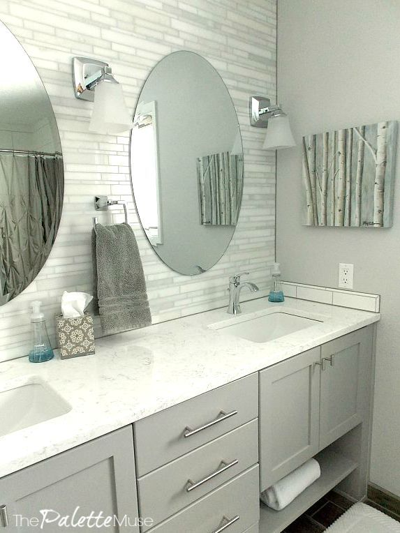 Master Suite Makeover | Quartz counter, Marble mosaic and Marbles
