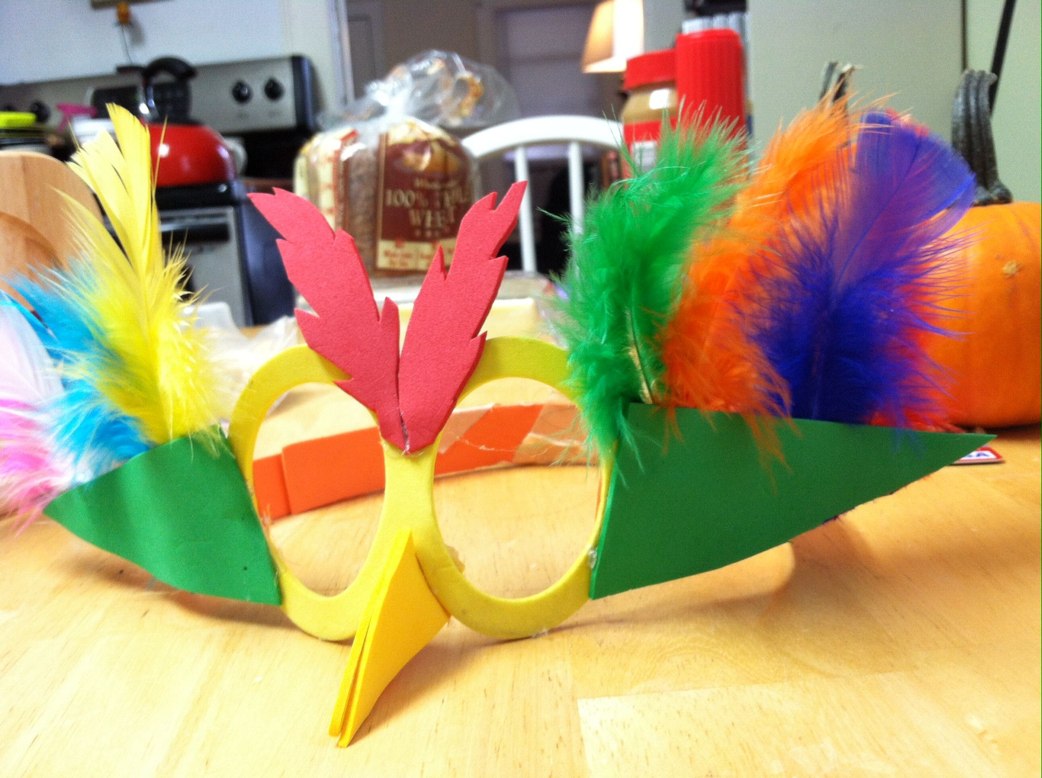 Halloween Costume- Bird Mask/Glasses! Foam, feathers and a hot ...