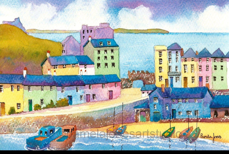 Tenby Harbour Seascape Canvas Art Poster Print Beach Boats West Wales Landscape