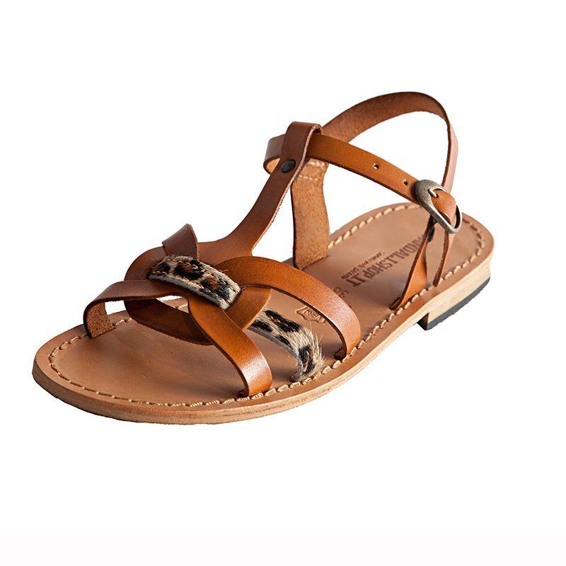 Sandalo elegante cognac da donna