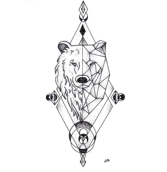 Custom Geometric Bear Tattoo Design Colorado Artist And Tattoo Designer Pointillism Tattoo In 2020 Geometric Bear Tattoo Bear Tattoo Designs Geometric Bear