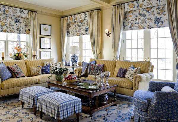 Combining Patterns and Colors When Decorating :: Hometalk check the roman shade