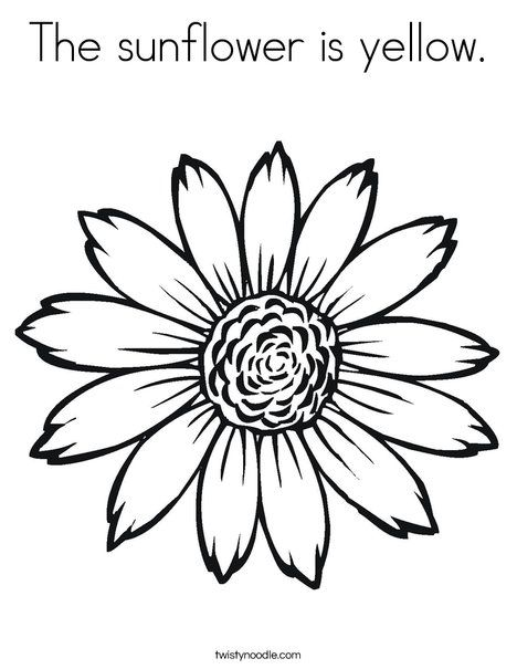 The Sunflower Is Yellow Coloring Page From Twistynoodle Com