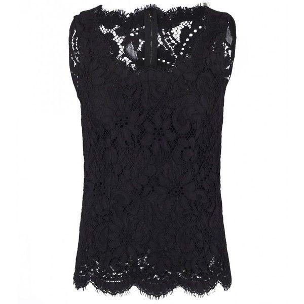 c1bb225468beb Dolce   Gabbana Black Cotton Floral Lace Blouse (1