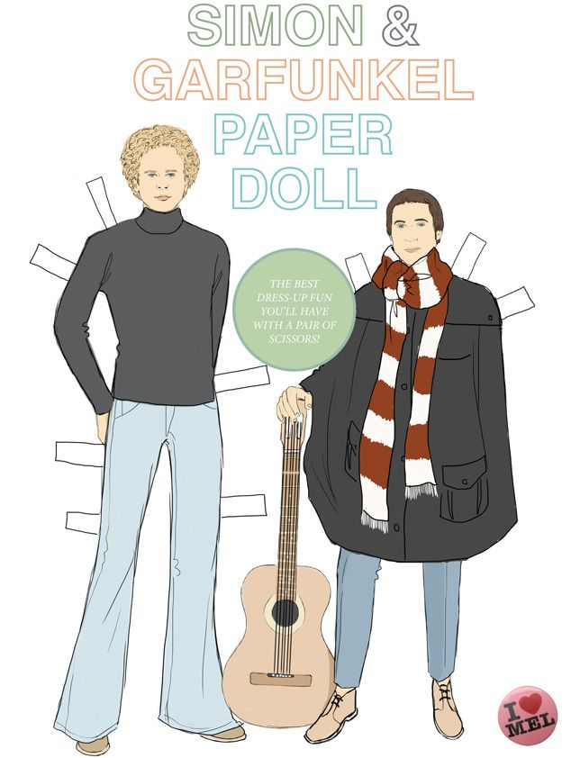 Simon & Garfunkel Paper Doll | I Love Mel Products & Design* 1500 free paper dolls at Arielle Gabriel's International Paper Doll Society for Pinterest paper doll pals *