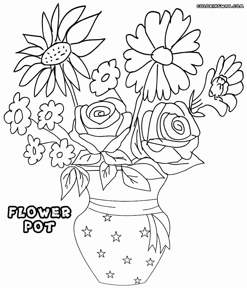 Flower Pot Coloring Pages Fresh Flower Pot Coloring Pages in 16
