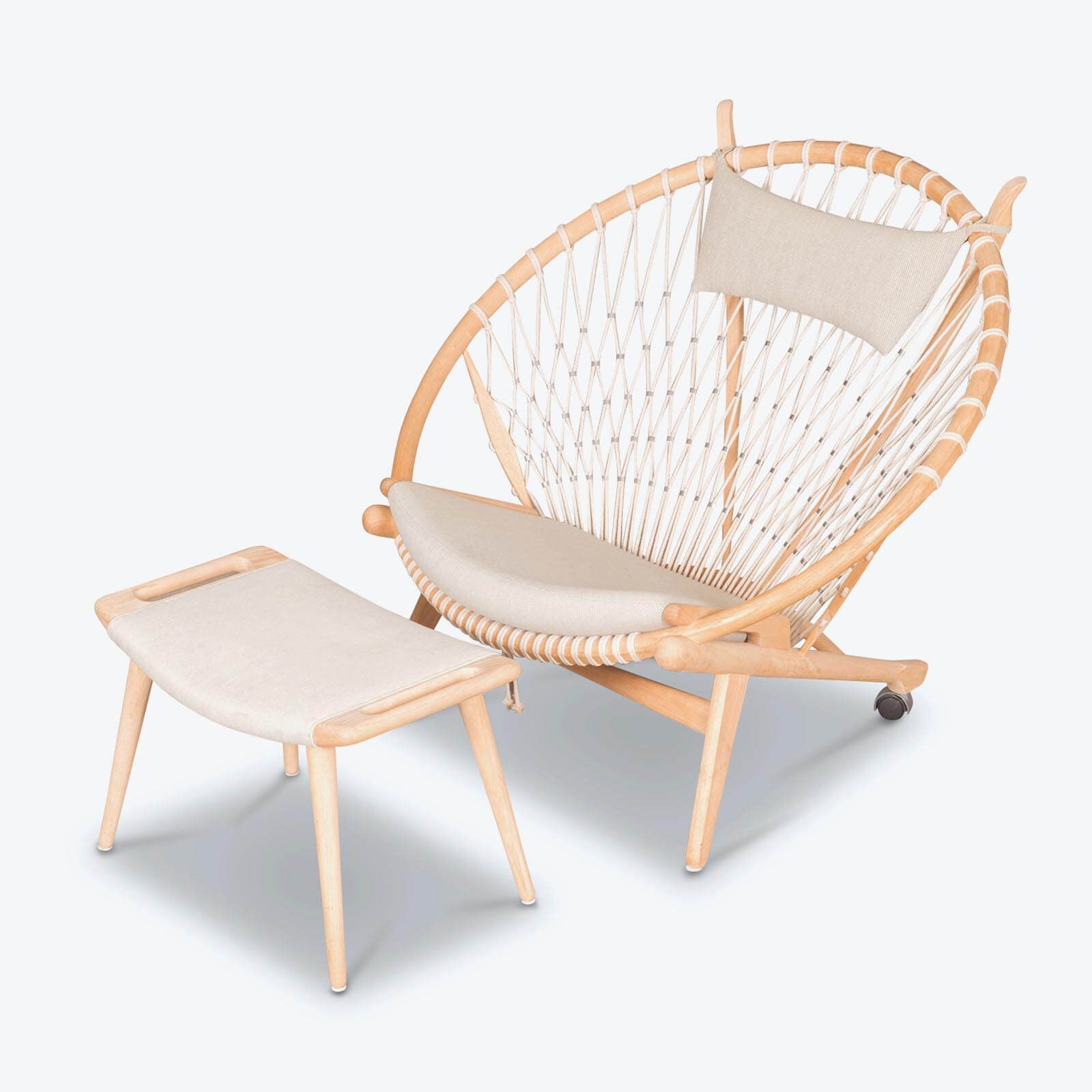 Contemporary · Circle Chair And Footstool By Hans Wegner In Oak And Cord,  1986, Denmark 8