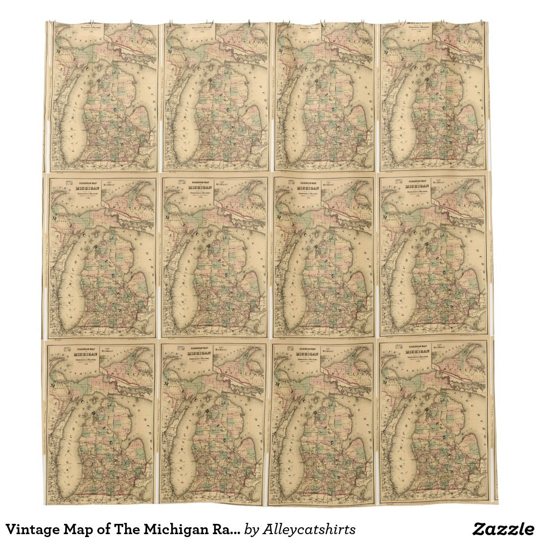 Vintage Map Of The Michigan Railroads 1876 Shower Curtain Zazzle Com Vintage Map Shower Curtain Curtains