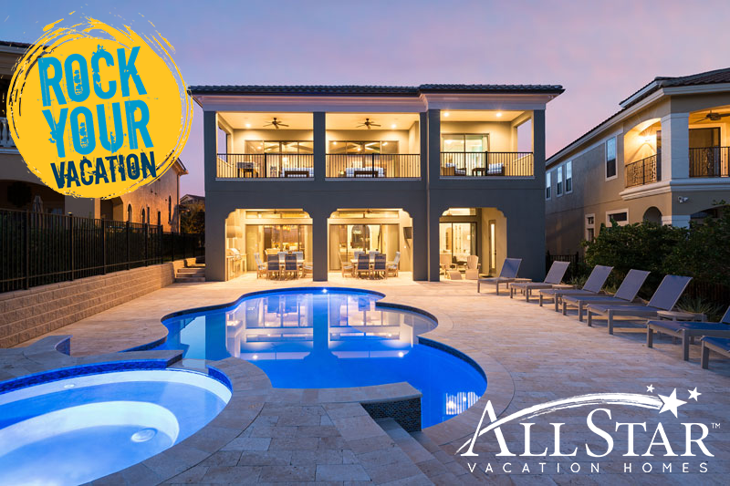 Rock Your Vacation In The Lap Of Luxury In An All Star Vacation Home Vacation Home Rentals Vacation Rentals Orlando Vacation Home