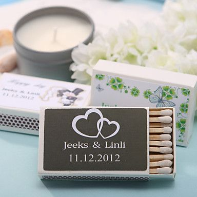 Usd 8 99 Personalized Matchboxes Double Hearts Set Of 12 Personalized Match Boxes Wedding Decorations Online Cheap Wedding Decorations