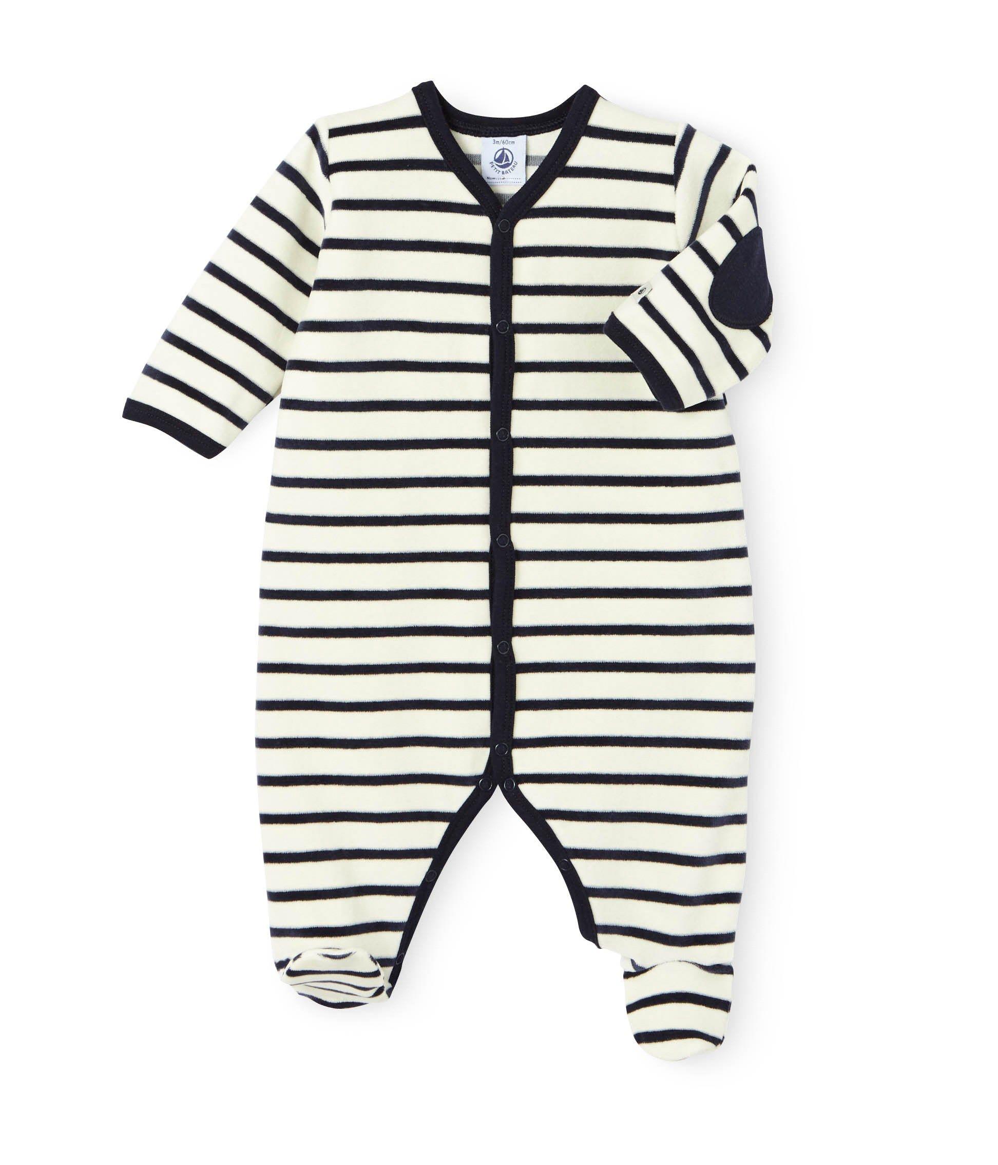 e0b647c244e1e Dors bien bébé mixte en velours rayure marinière beige Coquille   bleu  Smoking. Retrouvez notre gamme de vêtements et sous-vêtements pour bébé