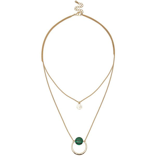 Sole Society Layering Stone Necklace (310 EGP) ❤ liked on Polyvore featuring jewelry, necklaces, gold, 14k jewelry, multi layer necklace, 14 karat gold jewelry, stone jewellery and double layer necklace