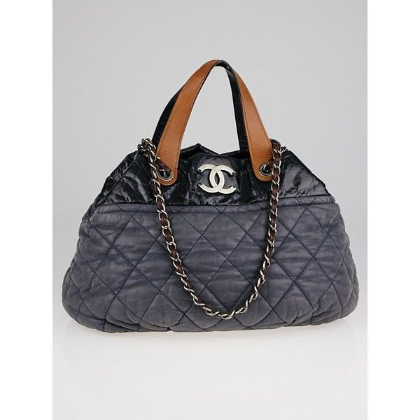 Pre Owned Chanel Grey Quilted Iridescent Calfskin Leather In The Mix 32 725 Mxn Liked On Polyvore Featuring Bags Used Chanel Bags Bags Quilted Tote Bags