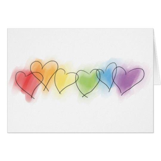 Watercolor Rainbow Hearts Card