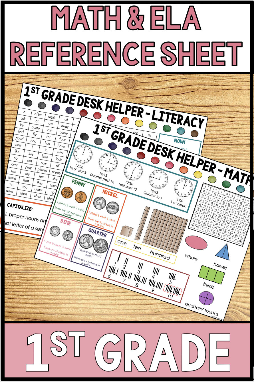 small resolution of First Grade Math and Literacy Reference Sheet   First grade math