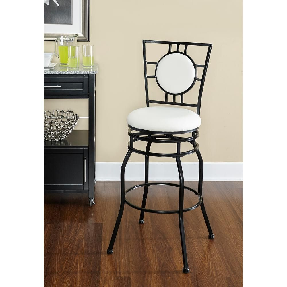 Linon Home Decor Townsend Adjustable Height Black Cushioned Bar