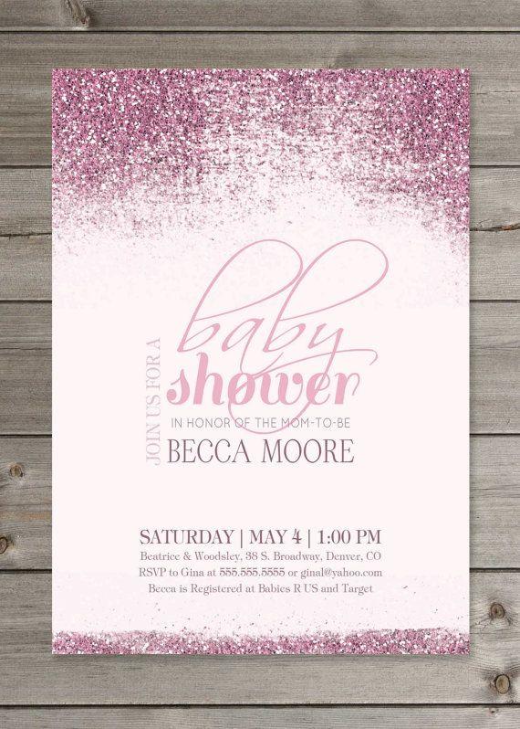 Baby Shower Pink Part - 34: Baby Shower Pink Or Blue Glitter Invitation By GaiaDesignStudios