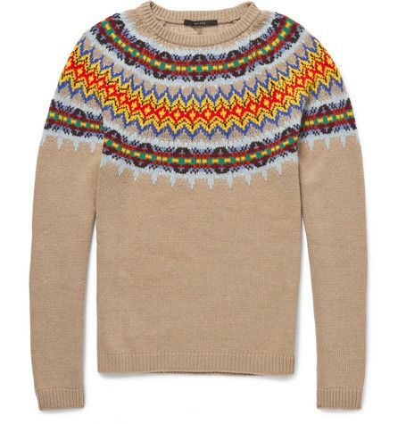 Gucci Knitted Wool and Cashmere-Blend Fair Isle Sweater | MR ...
