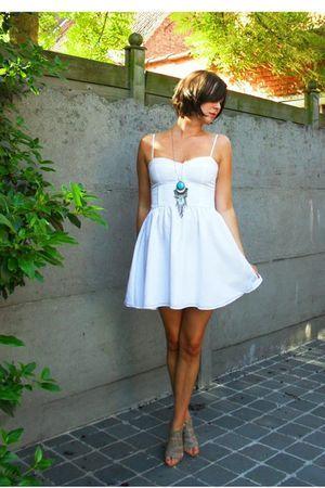dress   Sundress White Full Skirted