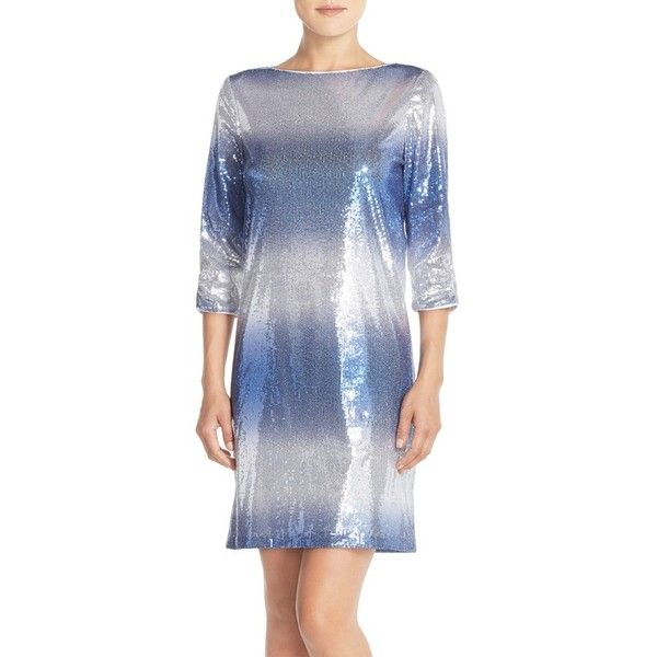 Maia Stretch Sequin Dress ($138) ❤ liked on Polyvore featuring dresses, evening cocktail dresses, sequin dress, holiday cocktail dresses, special occasion dresses and shift dress