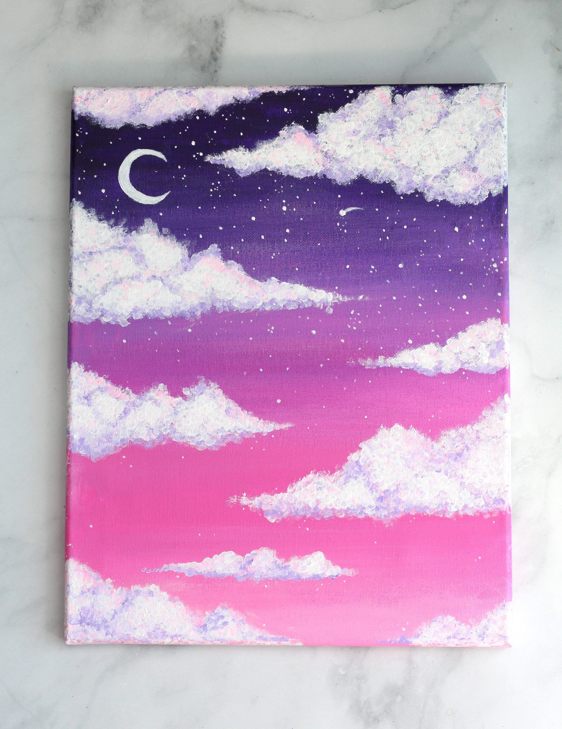 How To Paint Clouds With Acrylic The Easy Way Feeling Nifty Small Canvas Art Diy Painting