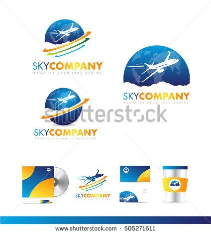 Air plane earth continents travel jet vector logo icon sign design