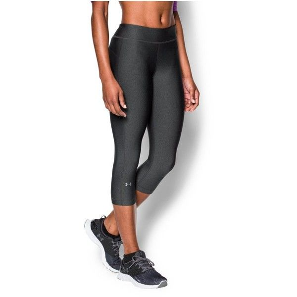 Under Armour Women's UA HeatGear Armour Capri ($35) ❤ liked on Polyvore featuring activewear, activewear shorts, carbon heather, under armour sportswear y under armour