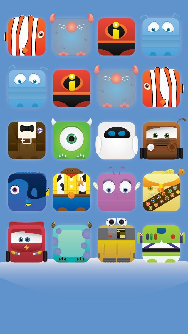 iPhone 5 wallpaper Disney Pixar character icons woody buzz incredibles cars nemo dory monsters inc mike sully up ratatouille movies kids
