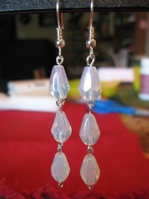 """Free Ship Silver Opalescent Dangle Earrings 2.25"""""""