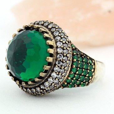 Turkish Multi Gems Green Emerald Topaz Silver Ring Size 6 Jewelry