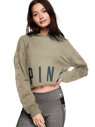 5cef04f578 Cropped Lace-Up Pullover - PINK - Victoria s Secret